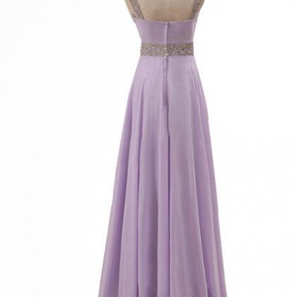 Floor Length V-Neck Beaded Embellis..