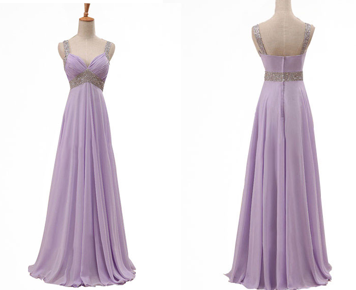 Floor Length V-Neck Beaded Embellished Ruched Chiffon A-Line Evening Dress