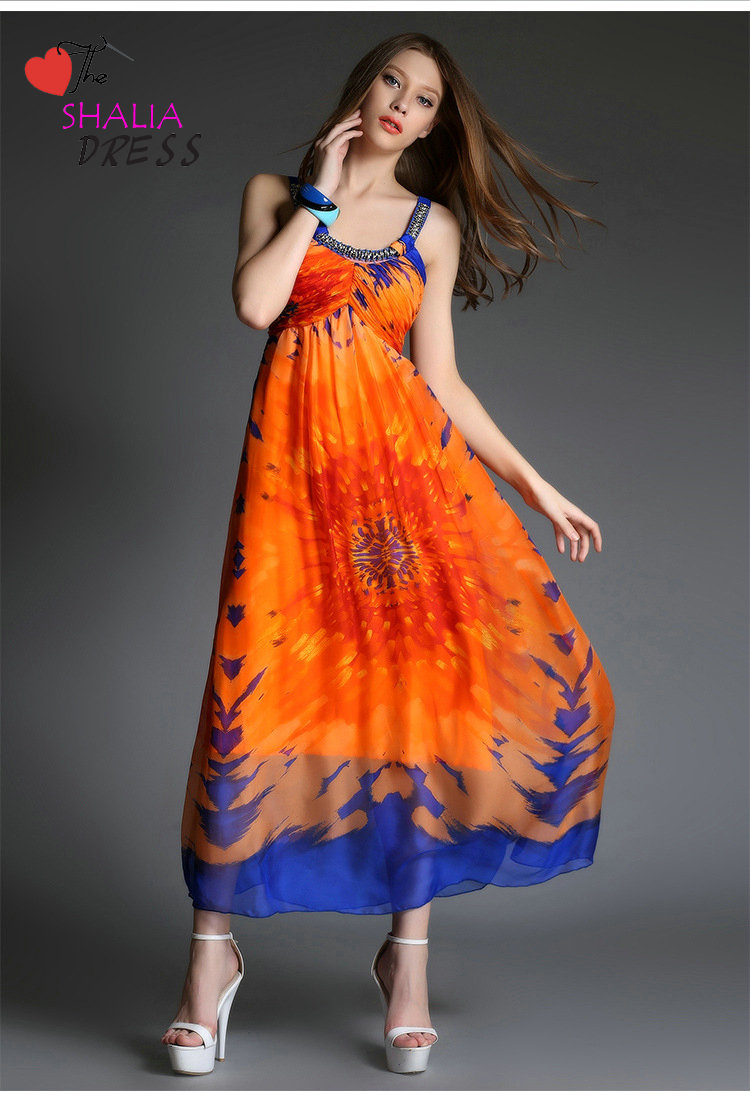 wholesale price professional sale super popular SH-005 Orange Round Neck Floral Printed Bohemian ,beach, Maxi ...