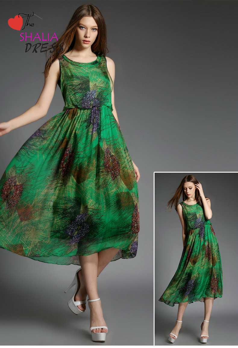 f6069c6c569 SH-012 Jade green floral maxi long dress bohemian beach casual plus size  woman summer clothing outfit petite girl skirt sundress 2015 online dress
