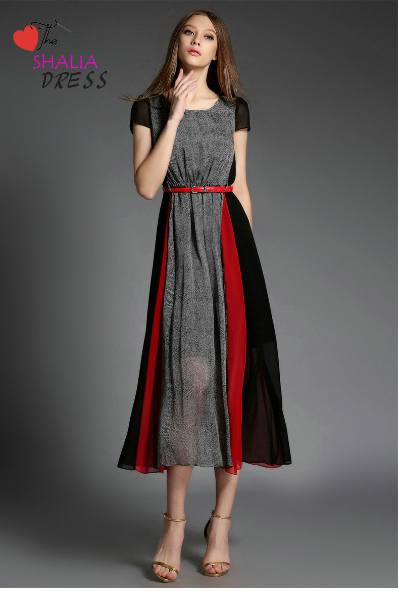 SH-020 Grey Black Red Striped Short Sleeve Maxi Dress Casual Plus ...