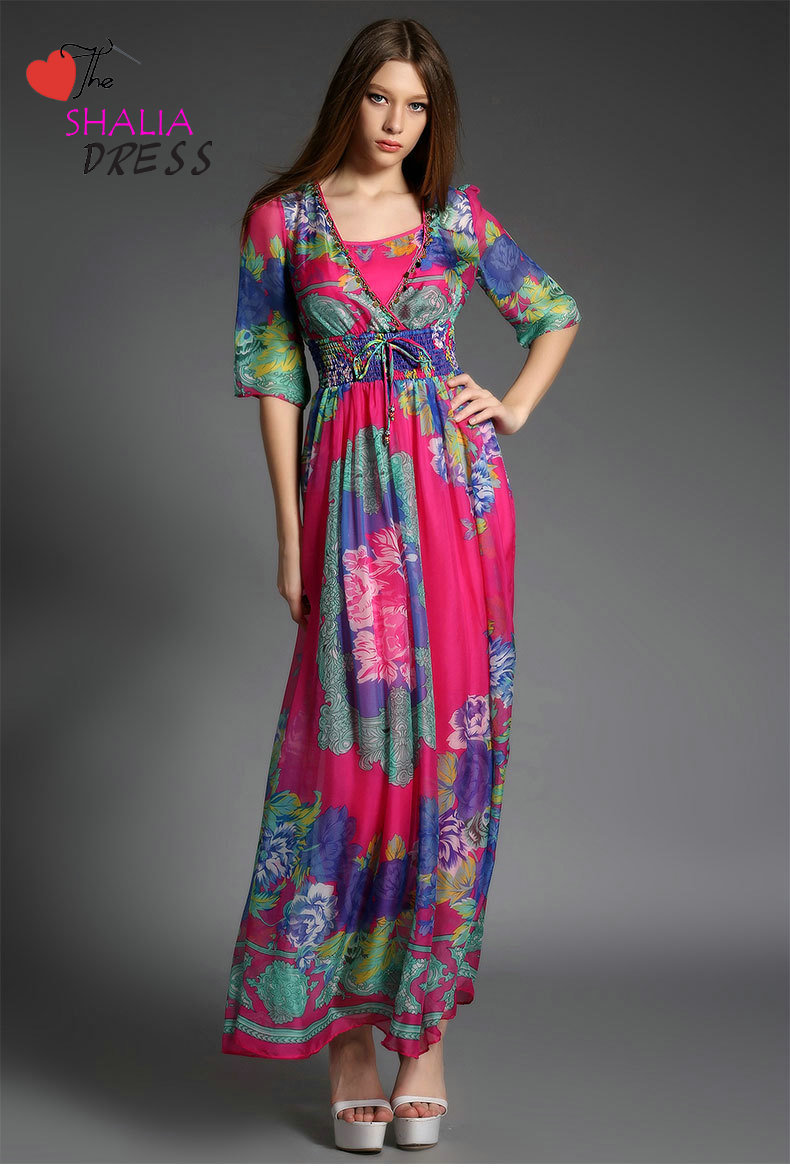 0644c92570909 SH-026 Hot pink Arabic Dubai robe half sleeve modest floral beach casual  plus size woman summer clothing outfit petite girl skirt sundress 2015  online dress