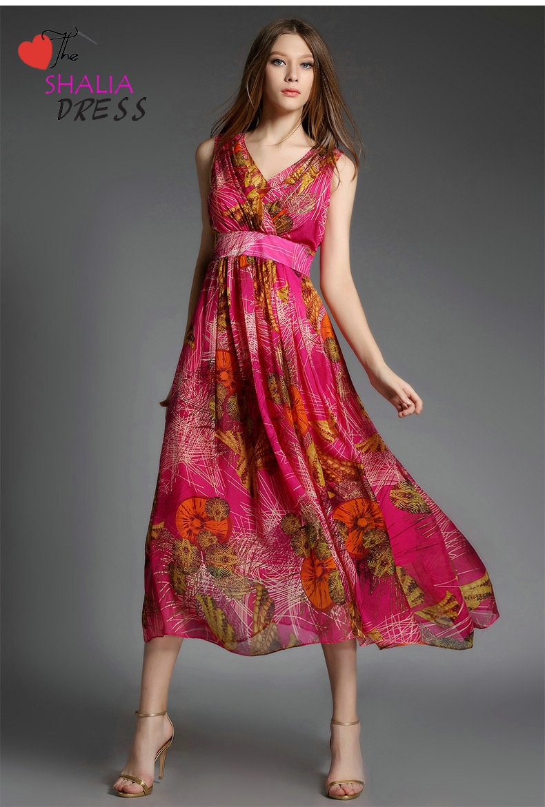 SH-007 Pink Red Floral Bohemian Beach Maxi Dress Casual Plus Size ...